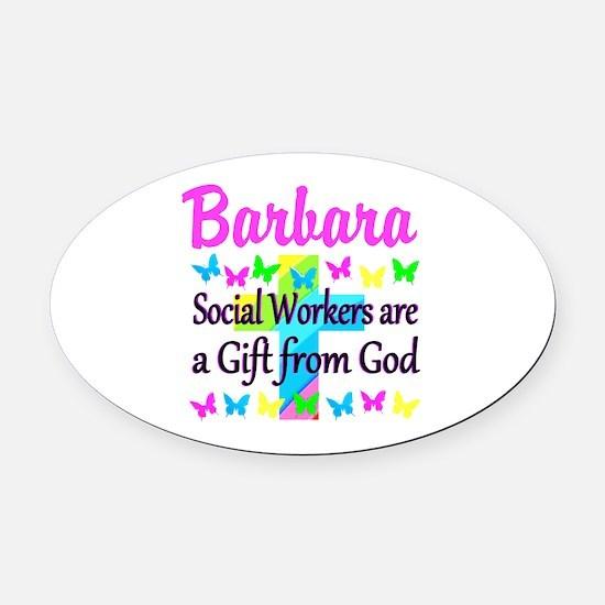 SOCIAL WORKER Oval Car Magnet