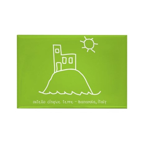 Green Hostel logo Rectangle Magnet by hostel5terre
