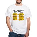 Genealogist Thinks White T-Shirt
