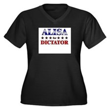ALISA for dictator Women's Plus Size V-Neck Dark T