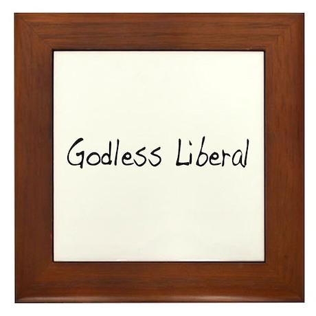 Godless Liberal Framed Tile