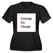 Funny Acoa Women's Plus Size V-Neck Dark T-Shirt