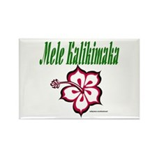 Hawaiian Merry Christmas Rectangle Magnet (100 pac
