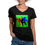 SNOWBORDERS Women's V-Neck Dark T-Shirt