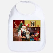 Santa's 2 Cockers Bib