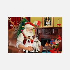 Santa's 2 JRT's Rectangle Magnet