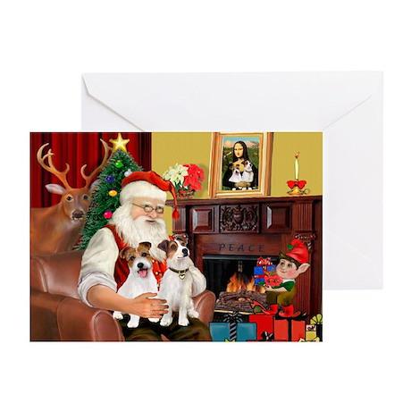 Santa's 2 JRT's Greeting Cards (Pk of 10)