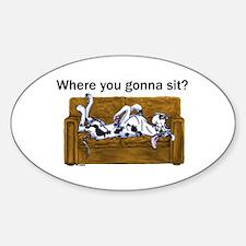 NH Where RU Gonna Sit? Oval Decal