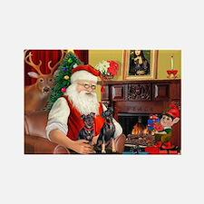 Santa's 2 Mun Pinschers Rectangle Magnet