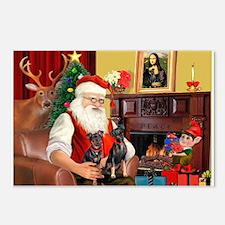 Santa's 2 Mun Pinschers Postcards (Package of 8)
