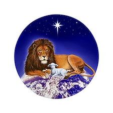 """Lion & Lamb 'Peace' ~ 3.5"""" Button (100 pack)"""