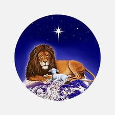 """Lion & Lamb 'Peace' ~ 3.5"""" Button"""