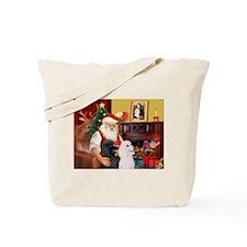 Santa's 2 Std Poodles Tote Bag