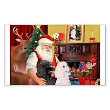 Santa's 2 Std Poodles Rectangle Decal