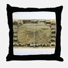 Bakersfield old map Throw Pillow