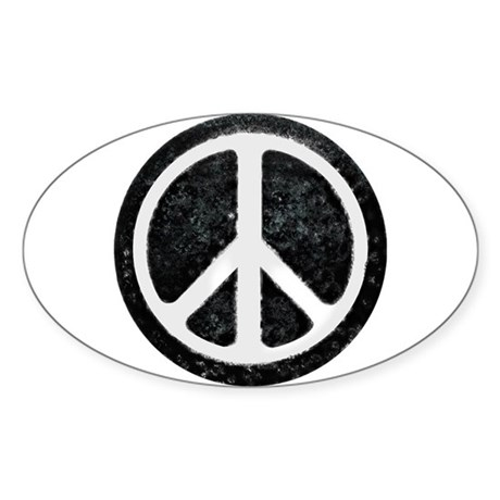 Original Vintage Peace Sign Oval Sticker