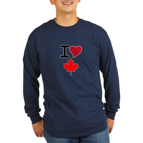 Canada Heart Leaf Long Sleeve Dark T-Shirt