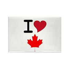 Canada Heart Leaf Rectangle Magnet