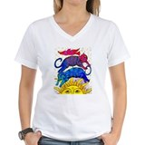 Cat tabby cat Womens V-Neck T-shirts