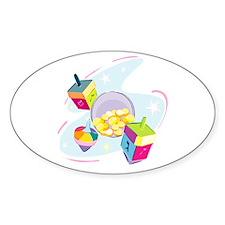 Pastel Dreidels Oval Decal