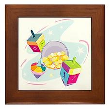 Pastel Dreidels  Framed Tile
