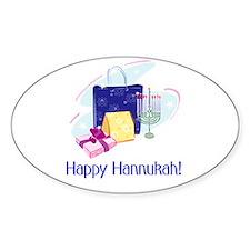 Happy Hannukah! Oval Decal