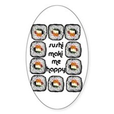 Sushi Maki Me Happy Oval Decal