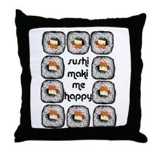 Sushi Maki Me Happy Throw Pillow