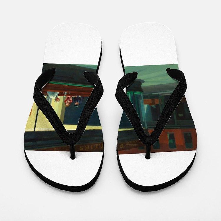 Nighthawks - Edward Hopper Flip Flops