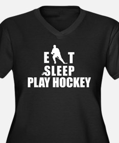 Eat Sleep Play Hockey Women's Plus Size V-Neck Dar