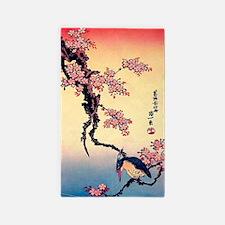 Cherry Blossoms, Kingfisher, Hokusai Area Rug