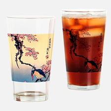 Cherry Blossoms, Kingfisher, Hokusa Drinking Glass