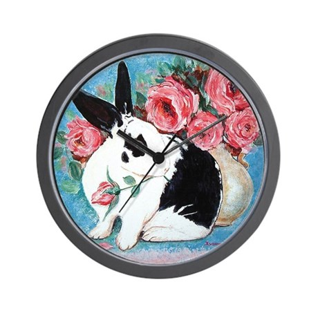 Rabbit & Roses Wall Clock