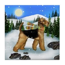 AIREDALE TERRIER DOG WINTER MOUNTAIN Tile Coaster