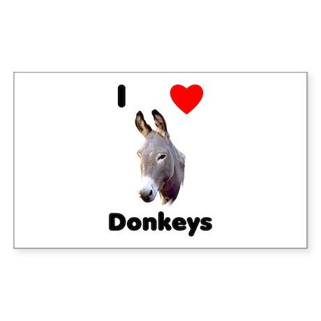 I love donkeys Sticker (Rectangle)