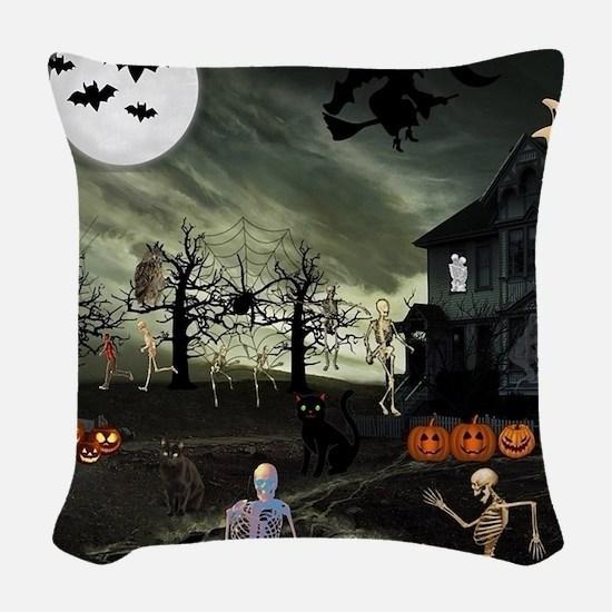 Skeleton Graveyard Woven Throw Pillow