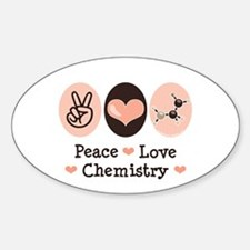 Peace Love Chemistry Oval Decal