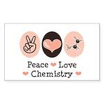 Peace Love Chemistry Rectangle Sticker