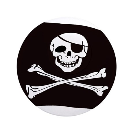 "Jolly Rogers Flag 3.5"" Button"