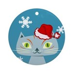 CHRISTMAS KITTY Ornament (Round)