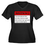 Homosexual Warning Women's Plus Size V-Neck Dark T