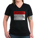 Homosexual Warning Women's V-Neck Dark T-Shirt