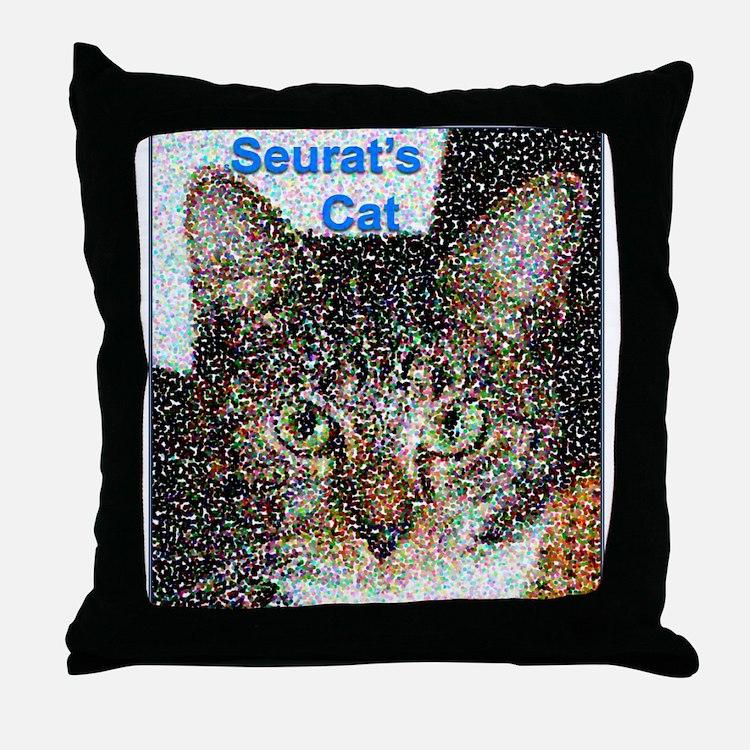 Seurat's Cat Throw Pillow