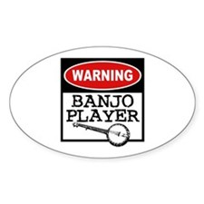 Warning Banjo Player Oval Decal