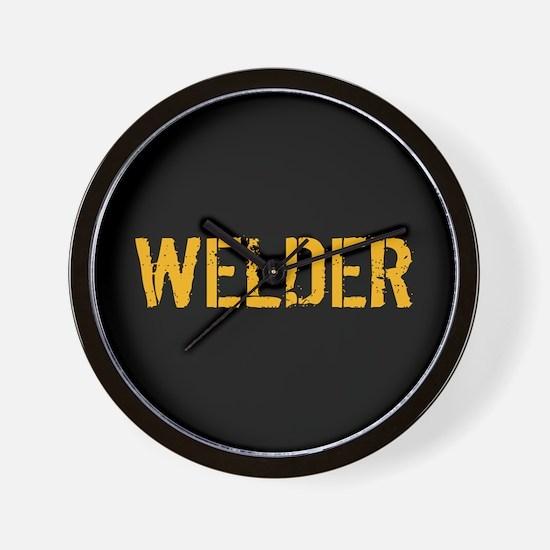 Welding: Stencil Welder (Black & Gold) Wall Clock