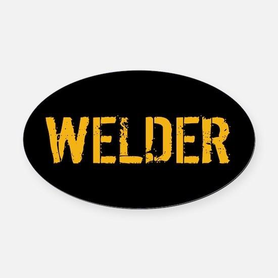 Welding: Stencil Welder (Black & G Oval Car Magnet