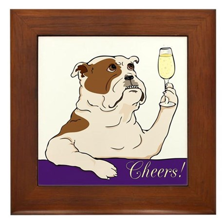 Bulldog Champagne Framed Tile