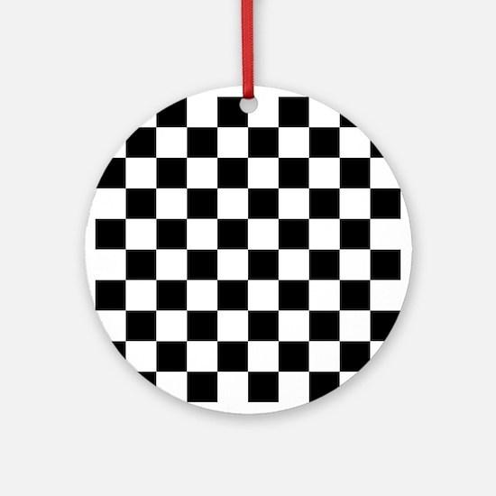 Black: Checkered Pattern Round Ornament