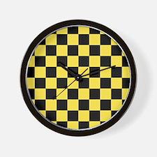 Checkered Pattern: Black & Taxi Yellow Wall Clock