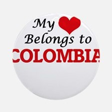 My Heart Belongs to Colombia Round Ornament